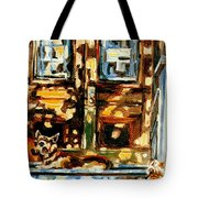 Westmount Porch In Early Autumn Montreal City Scene  Tote Bag