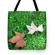 Wet Leaves On Grass Tote Bag