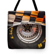 Wheel And Chequered Flag Tote Bag