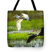 White And Grey Herons In Flight Tote Bag