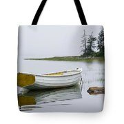 White Boat On A Misty Morning Tote Bag