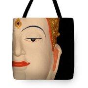 White Buddha Face Tote Bag