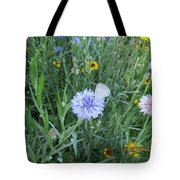 White Butterfly On Purple Flower Tote Bag