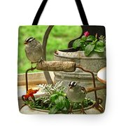 White Crowned Sparrows On The Flower Pot  Tote Bag