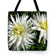 White Dahlias In Autumn  Tote Bag