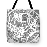 White Doodle Circles Tote Bag