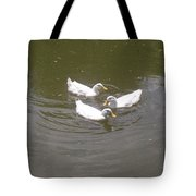 White Ducks Swimming Tote Bag