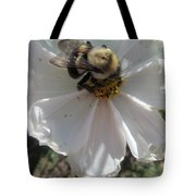 White Flower And Bee Tote Bag