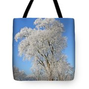 White Frost Tree Tote Bag