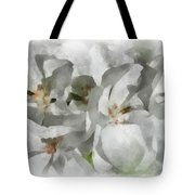 White Geraniums - Watercolor Tote Bag