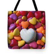 White Heart Candy Tote Bag by Garry Gay