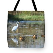 White Heron And Baby Ducks Tote Bag