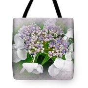 White Lace Cap Hydrangea Blossoms Tote Bag