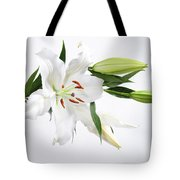 White Lily And Buds Tote Bag