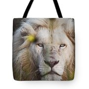 White Lion And Yellow Flowers Tote Bag