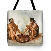 White: Native Americans Eating Tote Bag