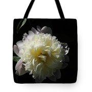 White On Black Peony Tote Bag
