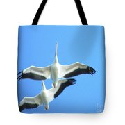 White Pelicans In Flight Tote Bag