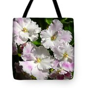 White Pink Ruffled Violet Tote Bag