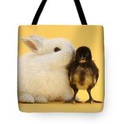 White Rabbit And Bantam Chick On Yellow Tote Bag