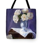 White Roses In A Silver Vase Tote Bag by Jack Skinner