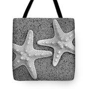 White Starfish In Black And White Tote Bag