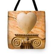 White Stone Heart On Pedestal Tote Bag