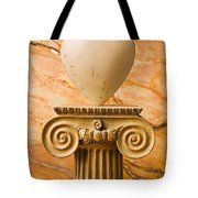 White Stone Heart On Pedestal Tote Bag by Garry Gay