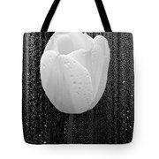 White Tulip On Black Tote Bag