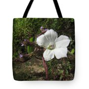 Small White Morning Glory Tote Bag
