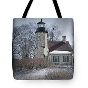 Whitehall Lighthouse In Winter Tote Bag