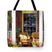 Wicker Chair With Striped Pillow Tote Bag