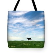 Wild Horse On Grassy Hill Tote Bag