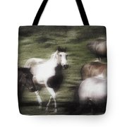 Wild Horses On The Move Tote Bag