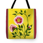 Wild Roses On Yellow With Borders Tote Bag