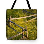 Wildflowers And A Wooden Fence At Tote Bag