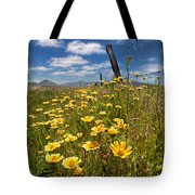 Wildflowers And Barbed Wire Tote Bag