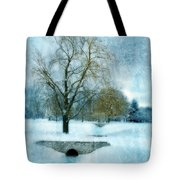 Willow Trees By Stream In Winter Tote Bag