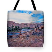 Wind River And Horses Tote Bag