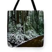 Winding Forest Trail In Winter Snow Tote Bag