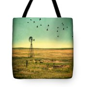 Windmill And Birds Tote Bag