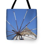 Windmill In Santorini Tote Bag