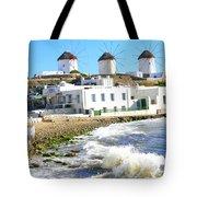 Windmills On Mykonos Tote Bag