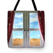 Window And Curtains With View Of Crops  Tote Bag