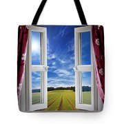 Window View Onto Arable Farmland Tote Bag