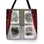 Window View To A Snow Scene Tote Bag