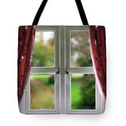 Window With Curtains Tote Bag