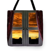 Window With Fiery Sky Tote Bag