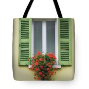 Window With Shutter Flowers Tote Bag