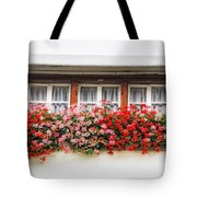 Windows With Red Flowers Tote Bag